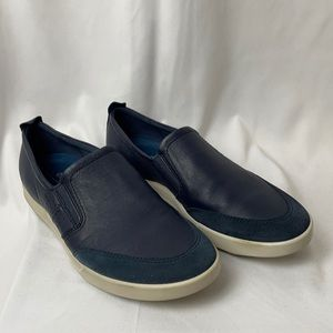 Ecco 52 Navy Leather & Suede Men's Slip On Shoes